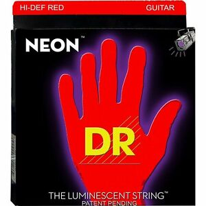dr strings nre 9 neon red coated medium bright electric guitar strings 9 42 600781005012 ebay. Black Bedroom Furniture Sets. Home Design Ideas
