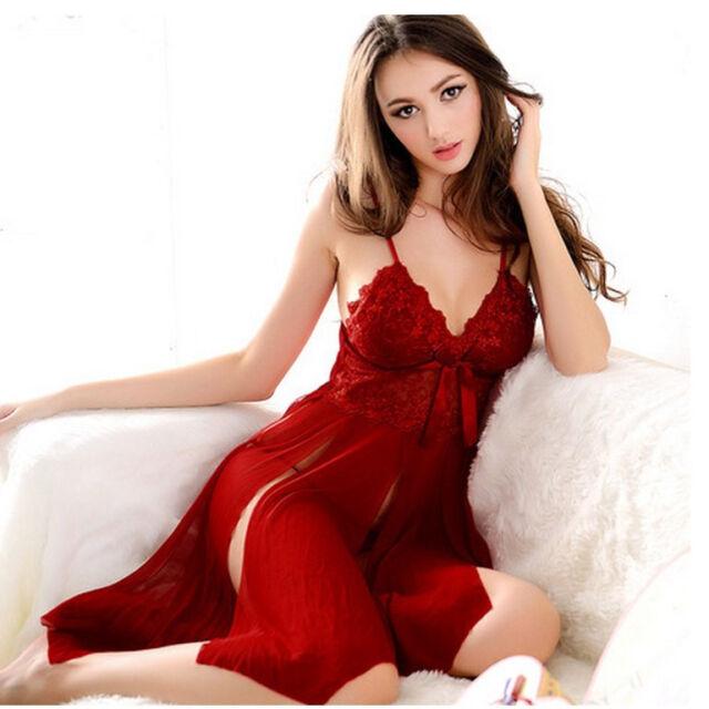 Sexy Women Lace Robe Dress Short Skirt Babydoll Sleepwear Nightwear Pajamas US