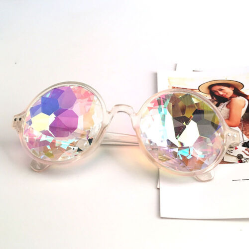 Festival Party Rave Kaleidoscope Rainbow Round Glasses Crystal Lens Sunglasses