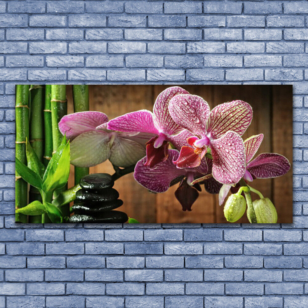 Print on Glass Wall art 140x70 Picture Image Image Image Flowers Bamboo Stones Floral f2aeee