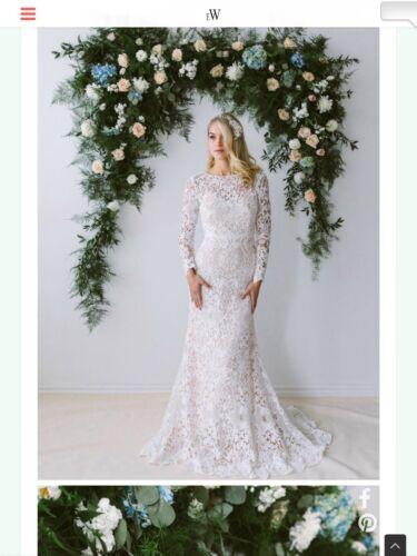 Wedding  Dress, Blush Color, Overlay With Long sle