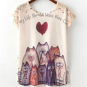 Femme-t-shirt-mignon-joli-Cat-Print-t-shirt-nouveau-top-manches-cour-IY