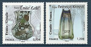 TIMBRES-5275-5276-NEUF-XX-ART-NOUVEAU-EMISSION-COMMUNE-FRANCE-CROATIE