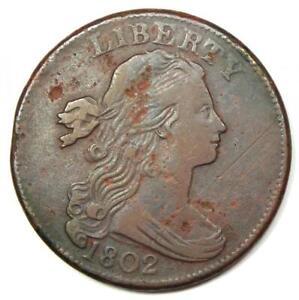 1802 Draped Bust Large Cent 1C S-228 1/000 Variety - VF Details - Rare Variety!