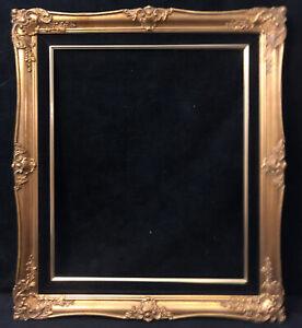 """Vintage Victorian Style Gilded Wood Pre-fab Frame Black Velvet Liner 31"""" x 27"""""""