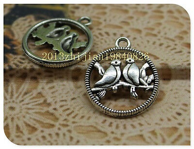 15/50pcs Antique silver lovely fashion delicate yuanyang bird charms  pendant