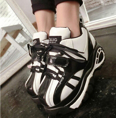 Ladies Lace Up Platform Heel Casual Running Sports New Fashion Sneakers Shoes Sz