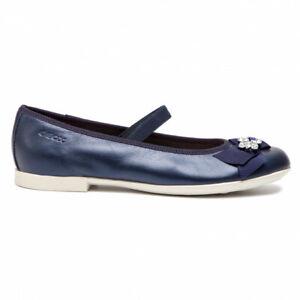 miglior servizio 979e4 50145 Dettagli su Geox Junior ballerina bambina in pelle blu con accessorio  (222GJ)