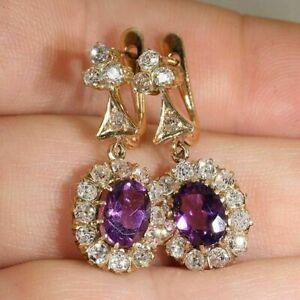 4Ct-Oval-Cut-Amethyst-Diamond-Drop-Dangle-Earrings-Solid-14K-Yellow-Gold-Finish