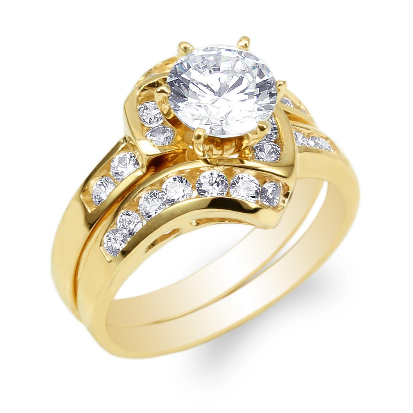 JamesJenny 14K Yellow gold Set 1.0ct Round CZ Engagement Wedding Ring Size 4-9