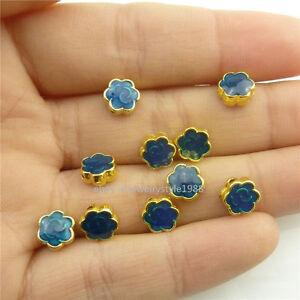 18559 4X Golden Blue Enamel Smile Flower Cloisonne 7mm Spacer Beads for Bracelet