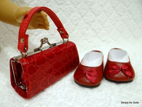 """2pc BURGUNDY Flats w//Bow DOLL SHOES /& Textured PURSE SET fits 18/"""" AMERICAN GIRL"""