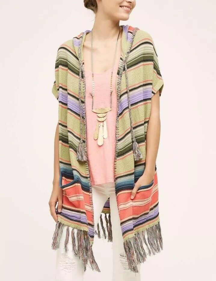 Anthropolgie Moth Calexico Fringe Stripe Coral Hooded Poncho XS S Retail