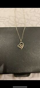 Silver & 9ct gold cubic zirconia double heart pendant from H Samuel NWOT