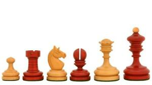 """1930 German Knubbel Analysis Chess Pieces in Stained Crimson & Boxwood-3"""" King"""