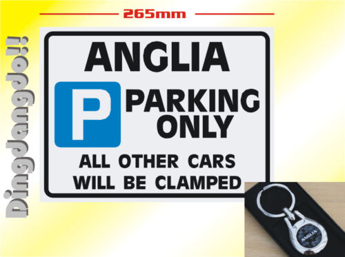 Ford Anglia Key Ring /& Parking Sign Novelty Gift Set