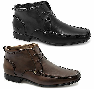 Front CLARKSON Mens Leather Lace-Up Formal Square Toe Ankle Boots Black/Brown