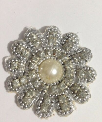 ajuste Nupcial Apliques de perlas de Plata Diamante Marfil Motif cuentas 4.7cm Aprox Boda