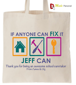 FIX IT Design Personalised Thank You School Caretaker Gift Cotton Tote Bag