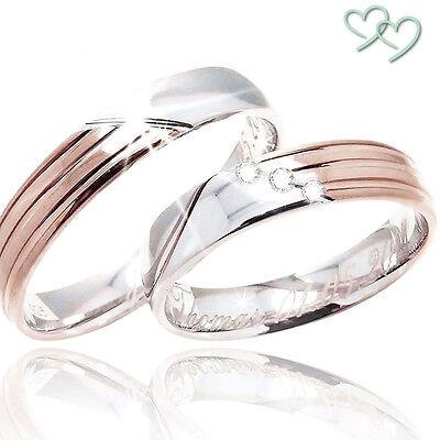 2 Trauringe Eheringe Verlobungsringe Hochzeit 925 SILBER Rose GOLD + GRAVUR C272