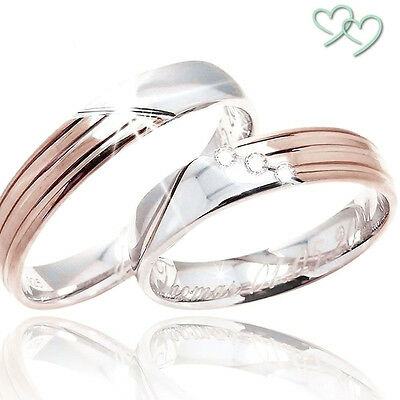 Trauringe Eheringe Verlobungsringe Hochzeitringe 925 SILBER + GRAVUR + ETUI C272