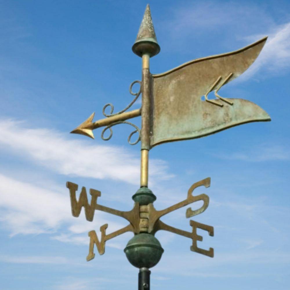 Banner weathervane - Handcrafted pure copper traditional verdigris weather vane