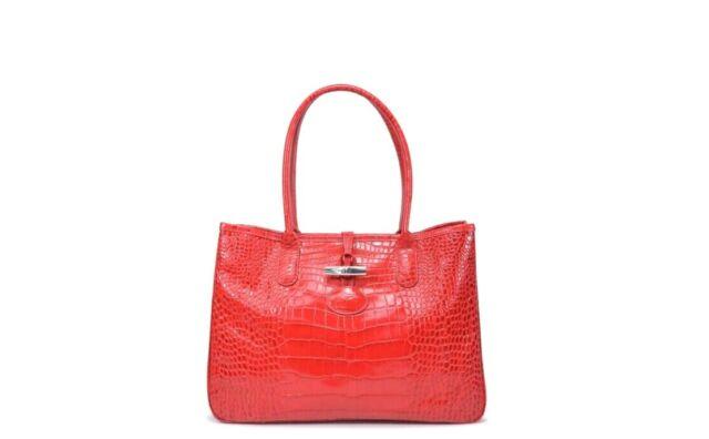 Longchamp ROSEAU Croco Red Leather Medium Tote