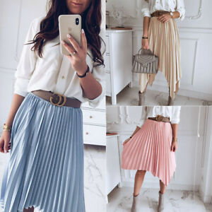 Women-A-Line-High-Waist-Pleated-Elastic-Waist-Midi-Skirt-Casual-Dress-Sundress