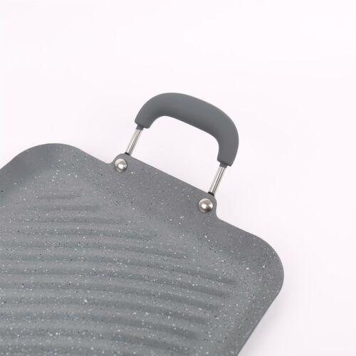Aluminium Grey Marble Non Stick Teppanyaki Double Stove Top Grill Pan Oven Tray