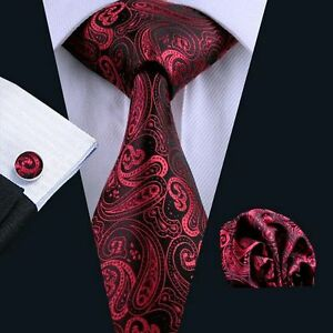 NEW ITALIAN DESIGNER RED amp BLACK PAISLEY SILK TIE SET - Teesside, United Kingdom - NEW ITALIAN DESIGNER RED amp BLACK PAISLEY SILK TIE SET - Teesside, United Kingdom