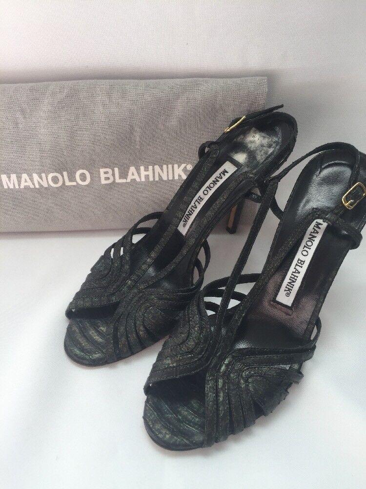 Manolo Blahnik Chaussures Escarpins Sandales Bride peau de serpent cuir taille 6 US 36