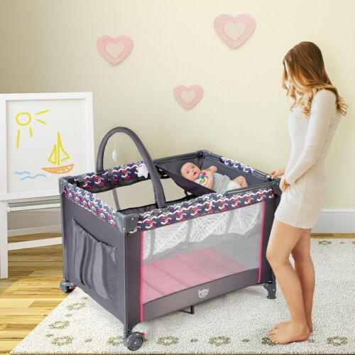 Folding Travel Baby Crib Playpen Infant Bassinet Bed Changing Table w//Baby Toys