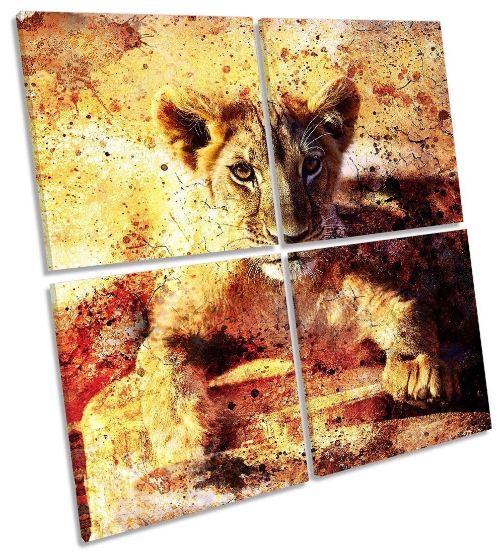 Lion Cub Wildlife MULTI CANVAS WALL ARTWORK Square Art