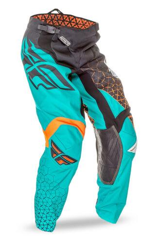 FLY RACING KINETIC Trifecta Motorcross PANTS BLACK//TEAL//ORANGE FREE SHIP!
