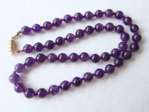 Violetto Ametista Collana 8mm Perline 55.9cm Annodati a Mano 8 MM