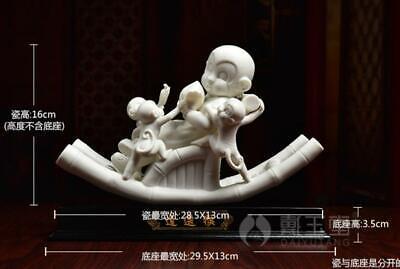 "11"" Dehua White Porcelain Carved Monkey Monkeys Kid Son Lad Tablet Chair Statue"