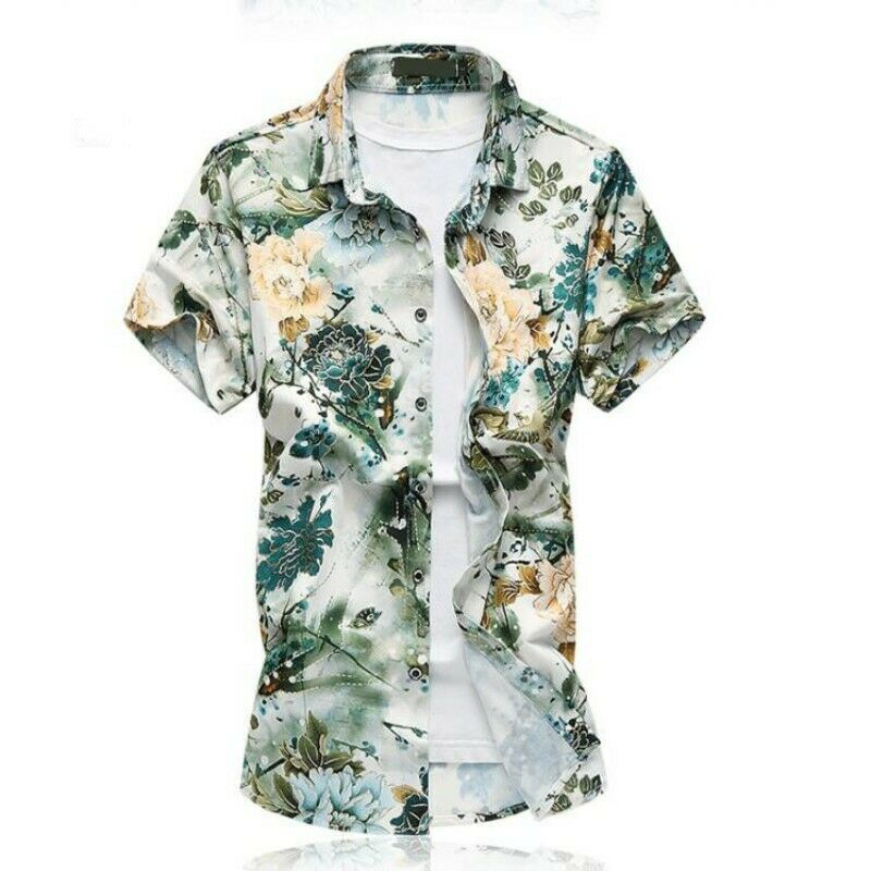 Mens Tops Short Sleeve Single Breasted Flower Printing Slim Fit Beach Shirts New