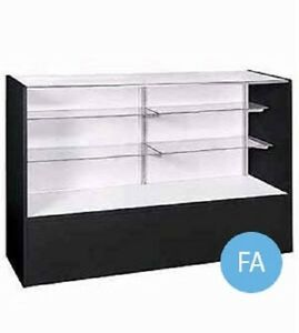 Display case full vision retail merchandise glass melamine for 18 x 48 window