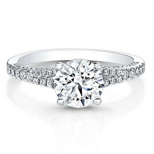 0.76 Ct Round Cut Real Diamond Engagement Ring 14K White gold Size 5 6 7 8