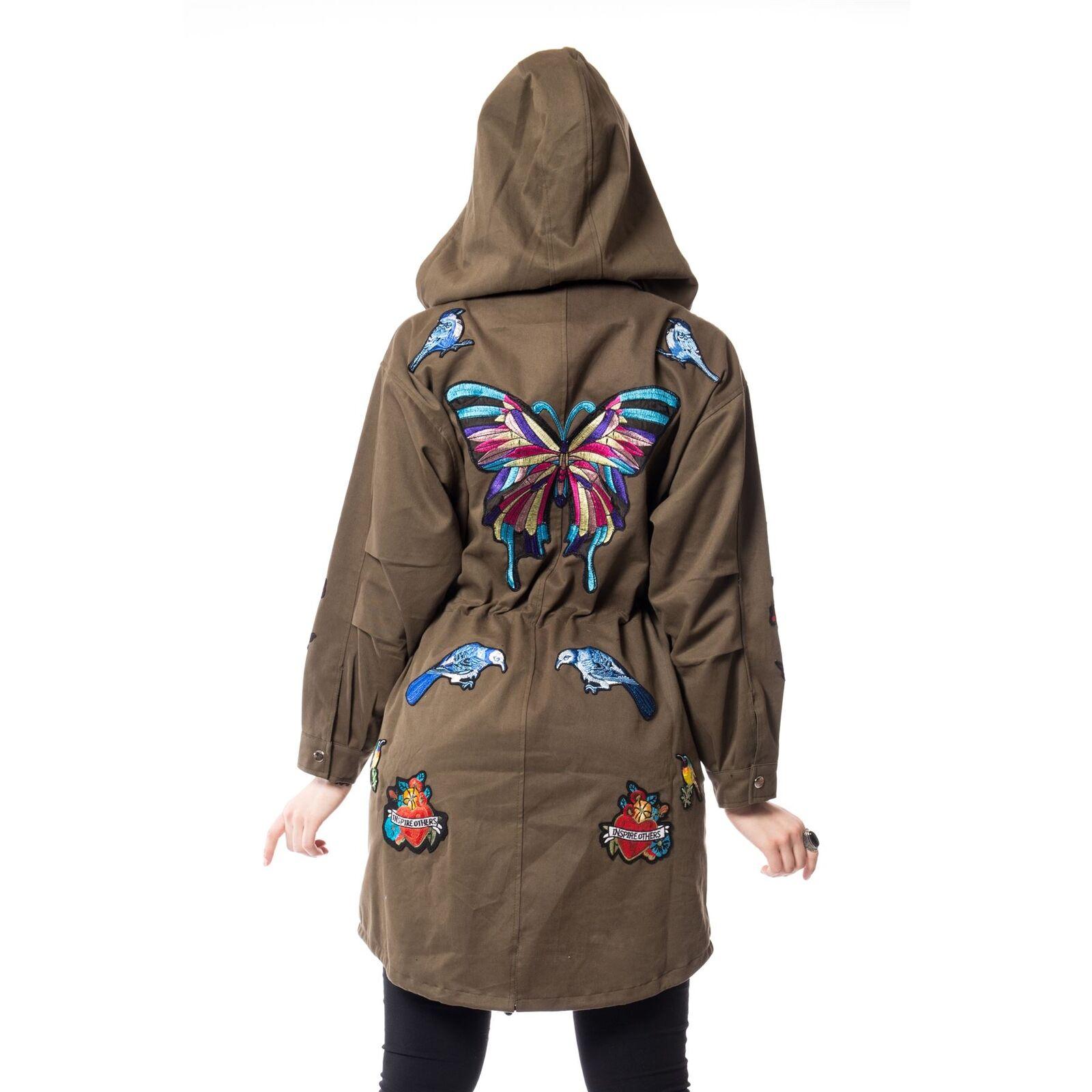 Rockabella Amorer Tour Ladies Womens Butterfly Green Khaki Winter Coat//Jacket