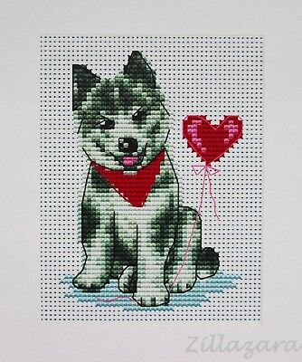 Kinder Motiv Hund Stickpackung Kreuzstich Stickset Stickbild Stickgarn 450