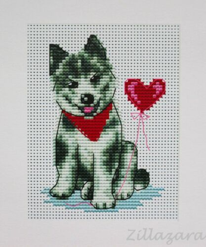 Kinder Motiv Hund Stickpackung Kreuzstich Stickset Stickbild Stickgarn 456