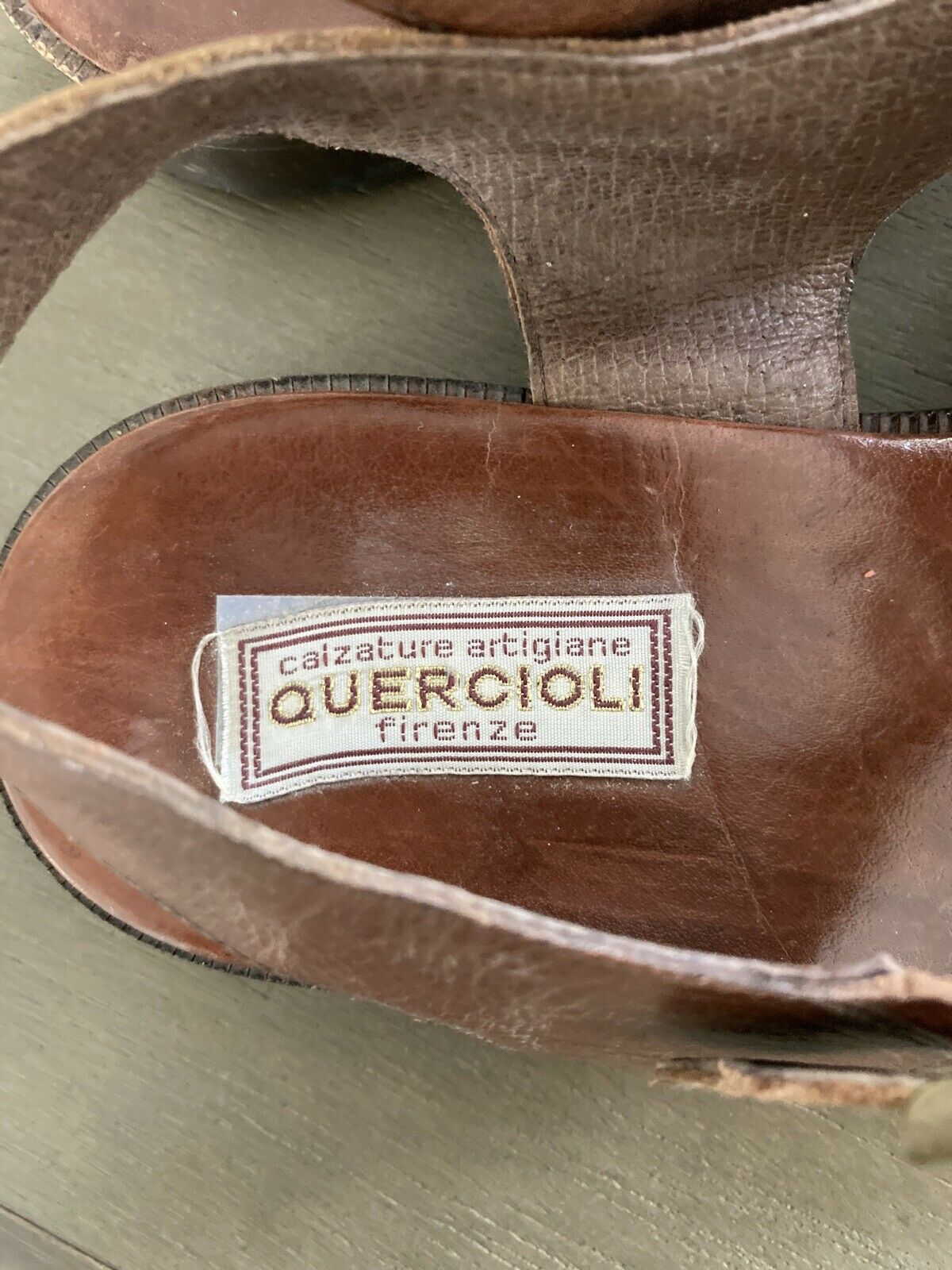 Men's Quercini Firenze Brown Leather Sandals 42 - image 3