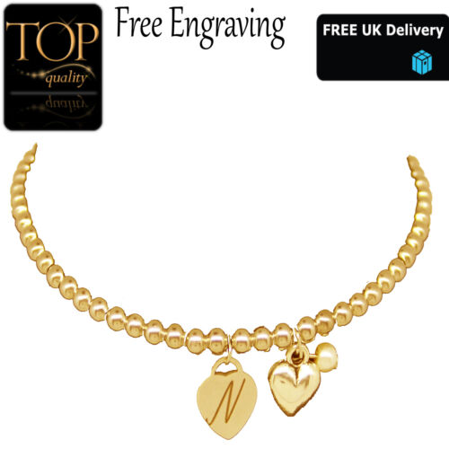 Personalised Double Heart Pendant Engraved Name Gold Bracelet Charm Jewellery UK