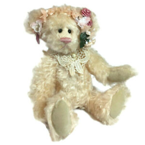 Vintage-Bear-Collection-artist-cream-mohair-teddy-bear-14-034-pink-flower-crown-DD2