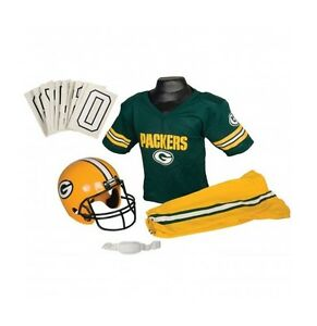 ffd1787a Details about Green Bay Packers Franklin Deluxe Uniform Helmet Set Kids  Medium Outfit Costume
