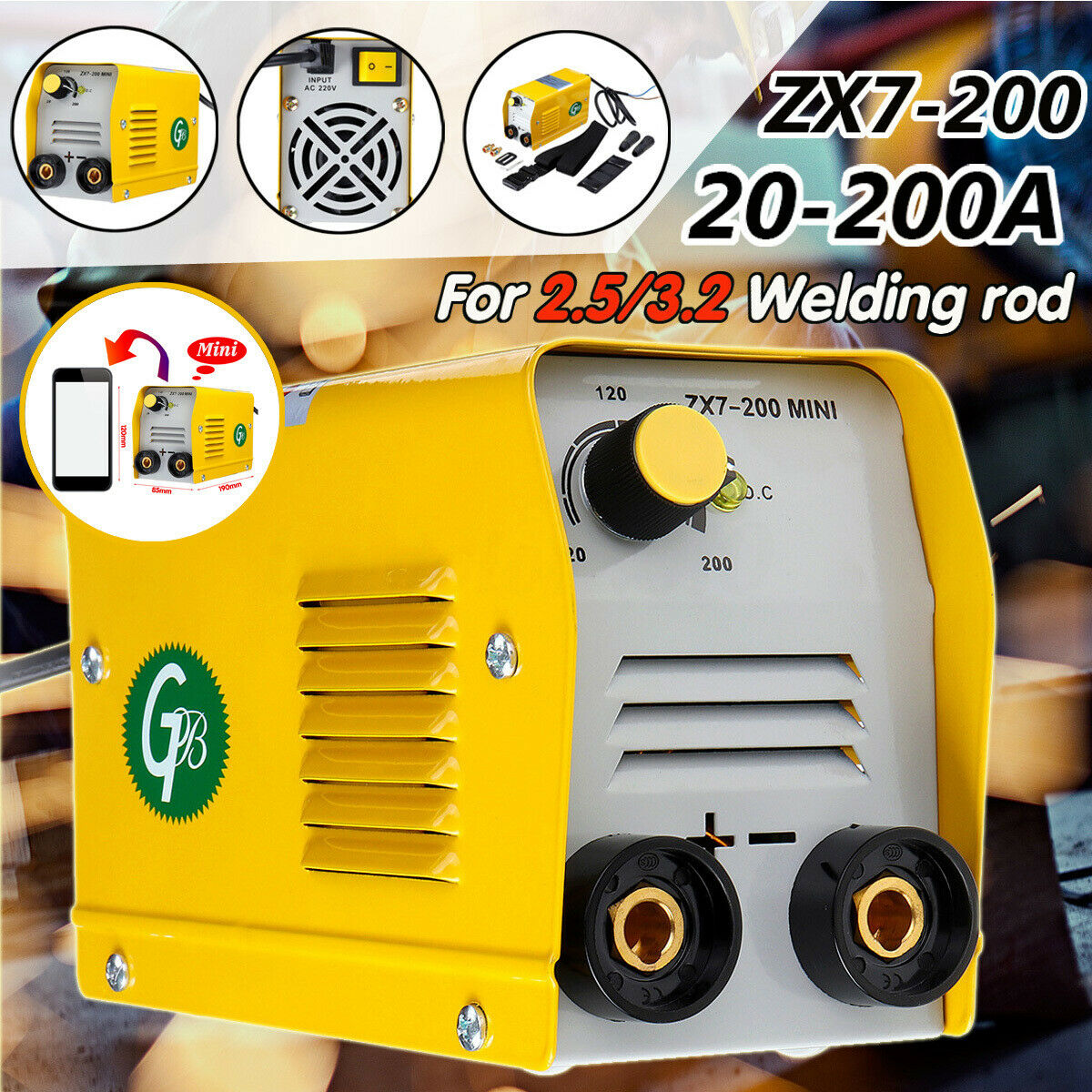 MMA Electric Welder IGBT Inverter Arc Welding Machine 10-200A Portable ZX7-200