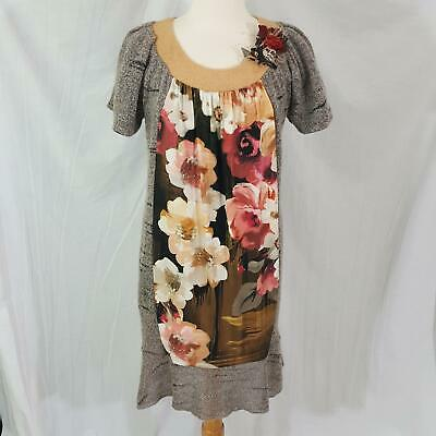 floral black red Upcycled sweater dress
