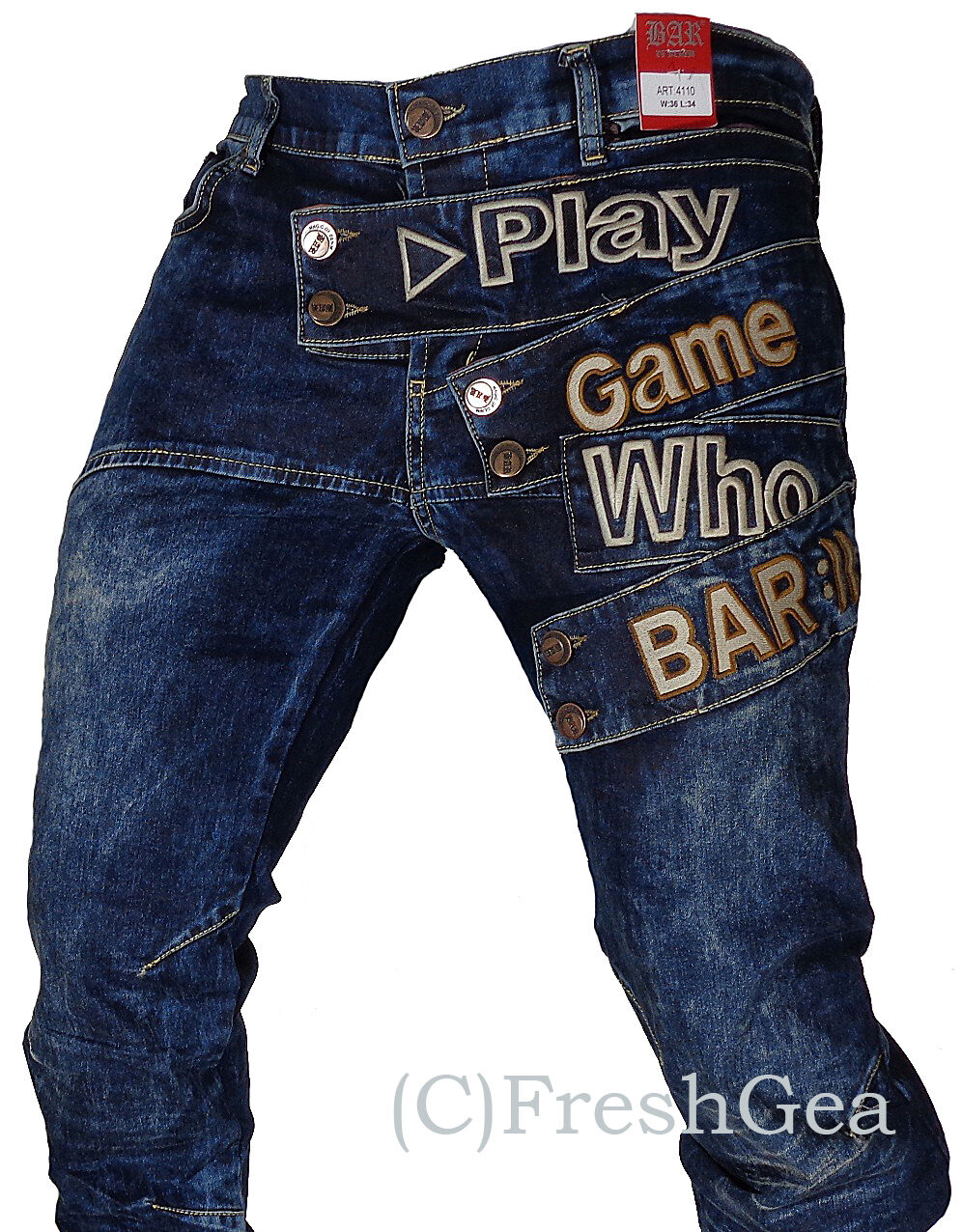 New Mens Bar of Denim Jeans, Barr Denim, Funky, Magic of Denim Style 4110 bluee