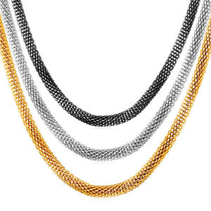 U7 Stainless Steel 18K Gold Plated Mesh Chain Necklace Men Jewelry